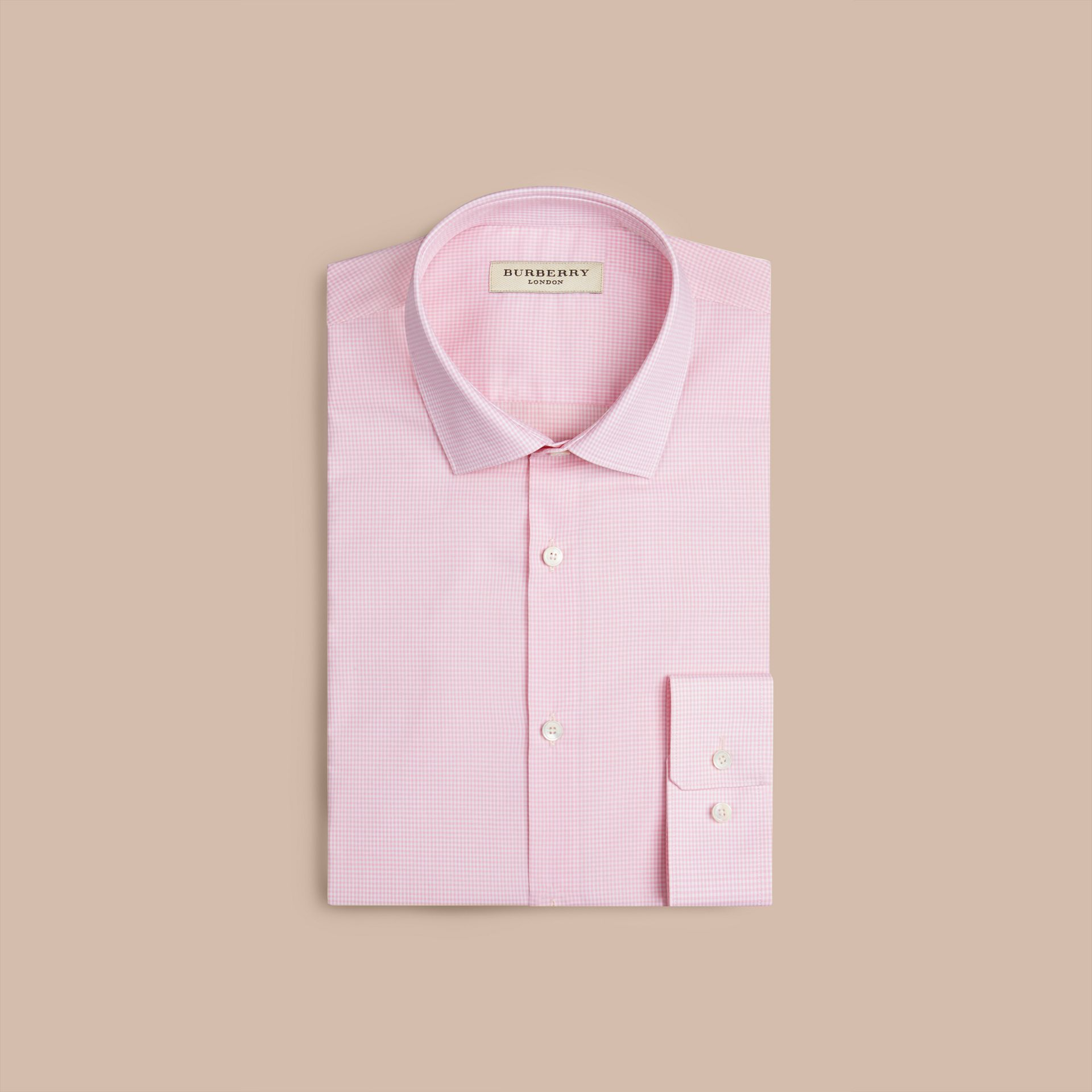 Modern Fit Gingham Cotton Poplin Shirt in City Pink - gallery image 4