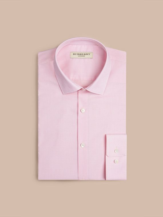 Modern Fit Gingham Cotton Poplin Shirt City Pink - cell image 3