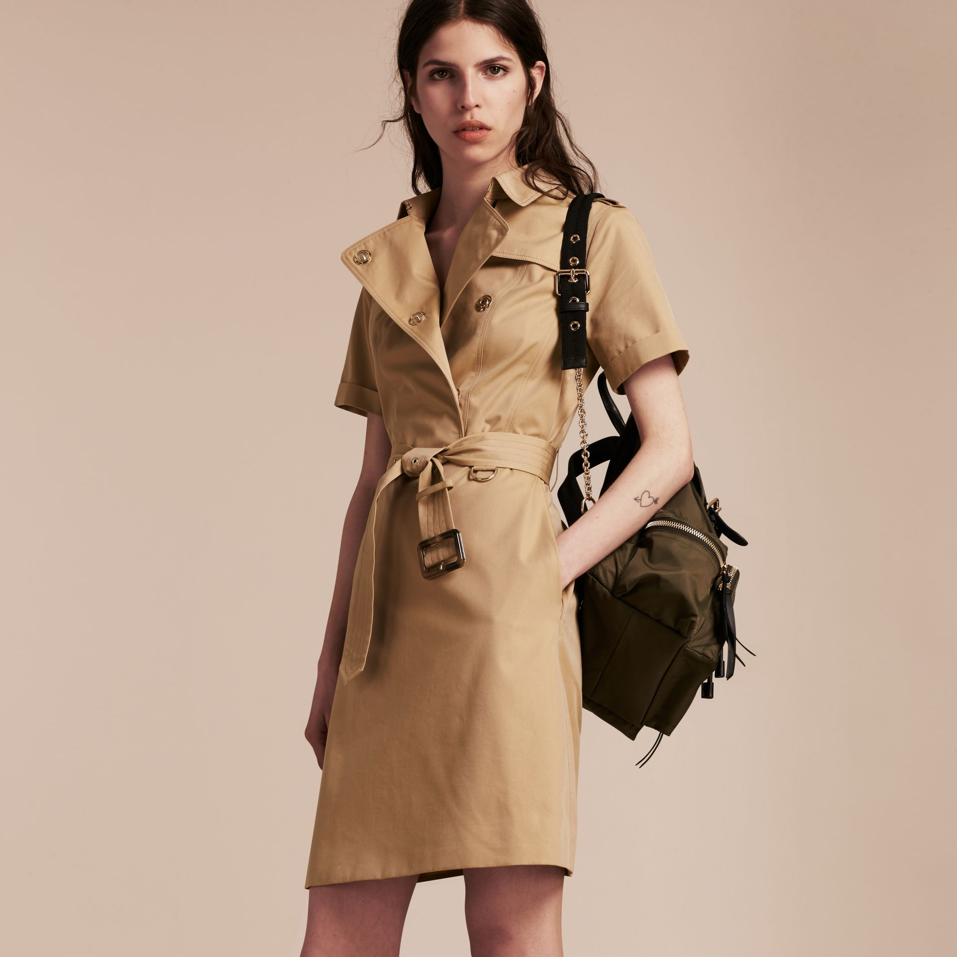 Honey Short-sleeved Cotton Gabardine Trench Dress Honey - gallery image 6