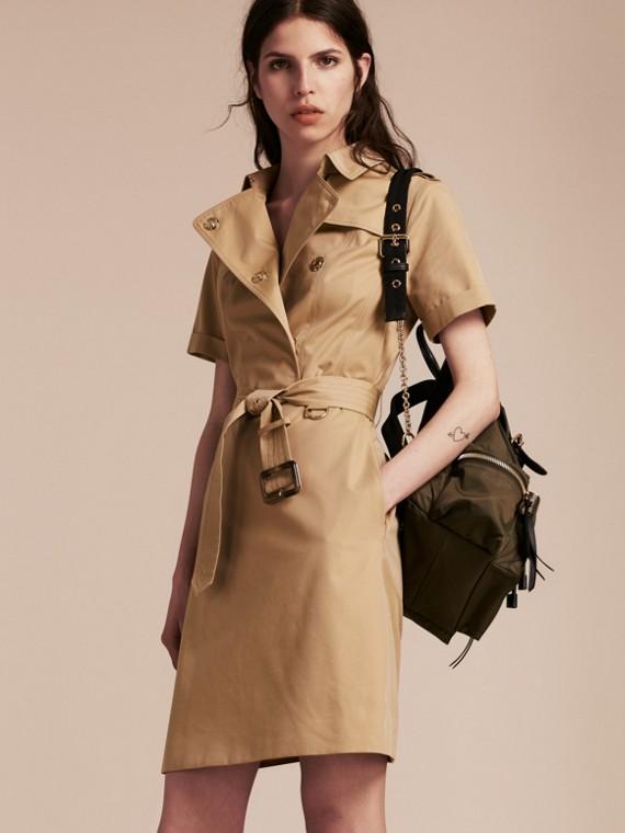 Short-sleeved Cotton Gabardine Trench Dress Honey