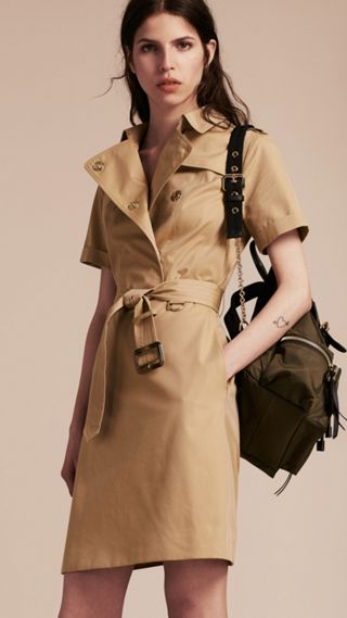 Short-sleeved Cotton Gabardine Trench Dress