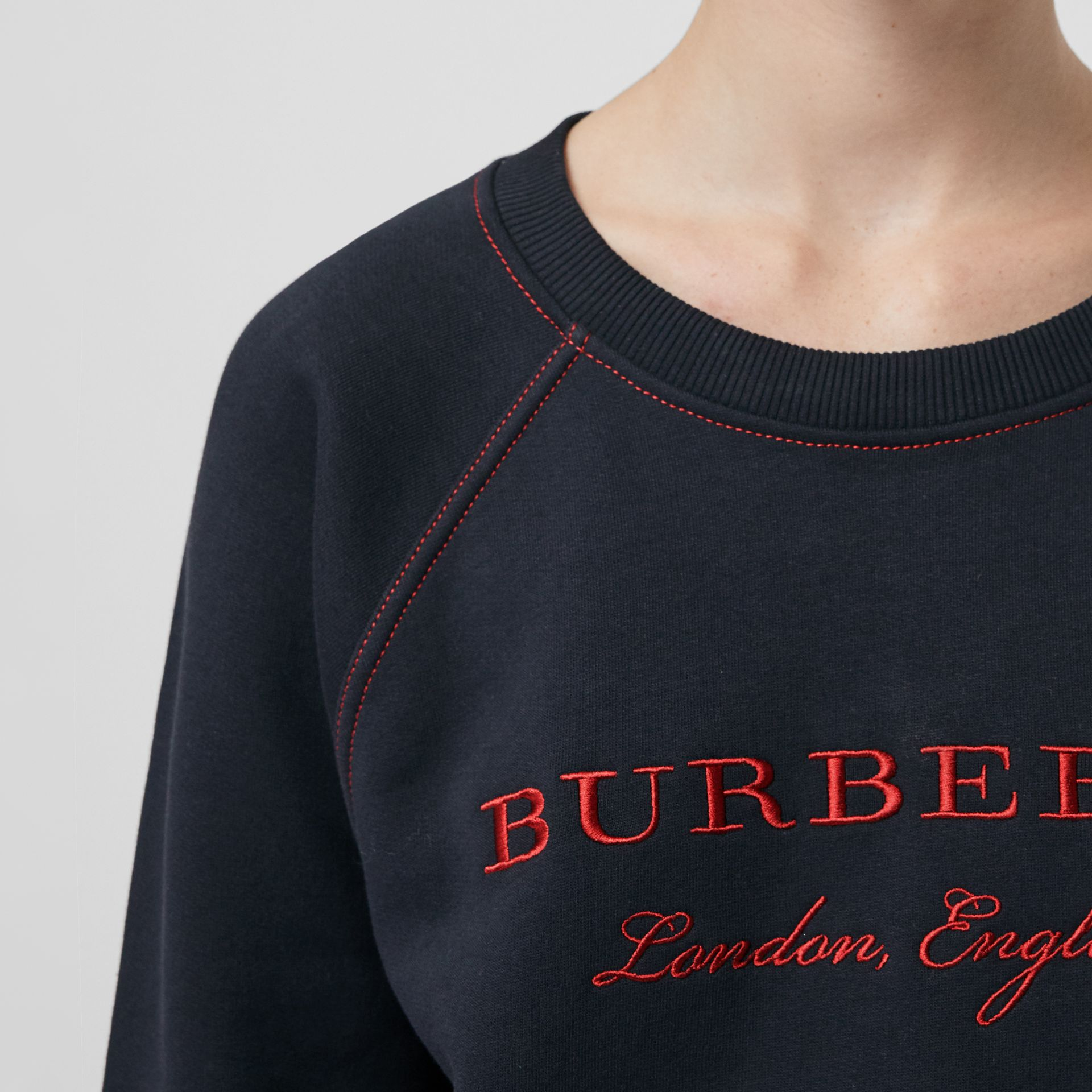 Embroidered Cotton Blend Jersey Sweatshirt in Navy | Burberry United Kingdom - gallery image 1