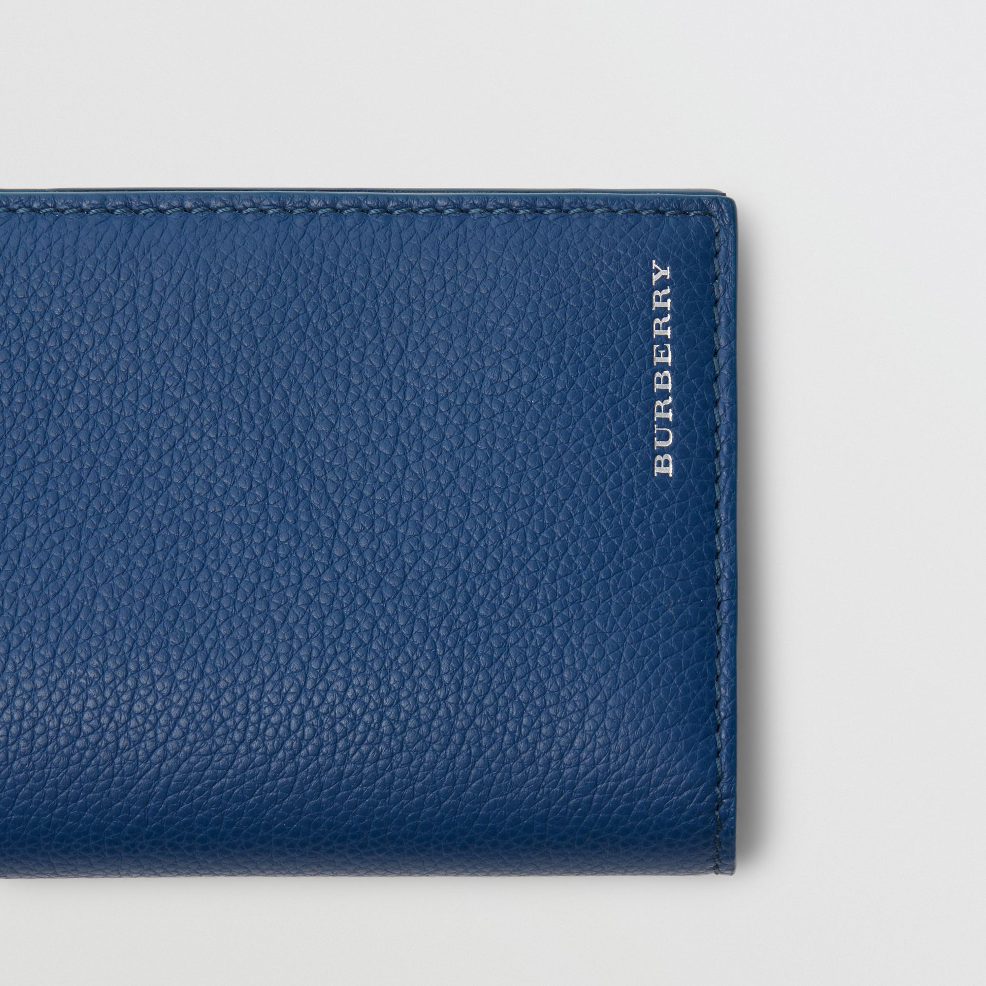 Grainy Leather Continental Wallet in Bright Ultramarine - Men | Burberry - gallery image 1