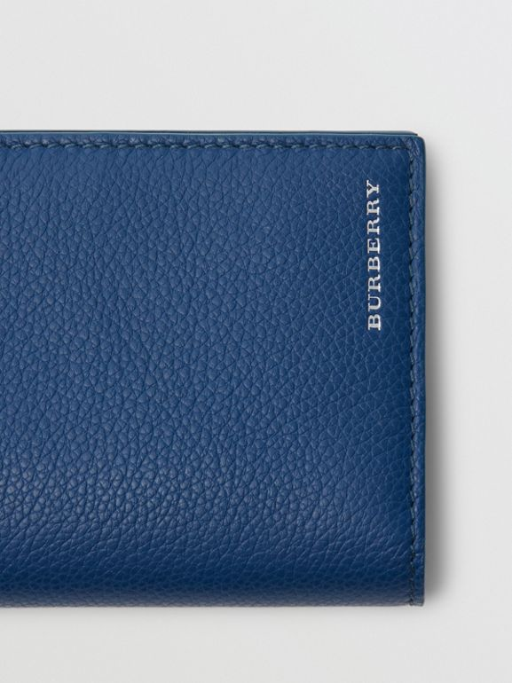 Grainy Leather Continental Wallet in Bright Ultramarine - Men | Burberry United States - cell image 1