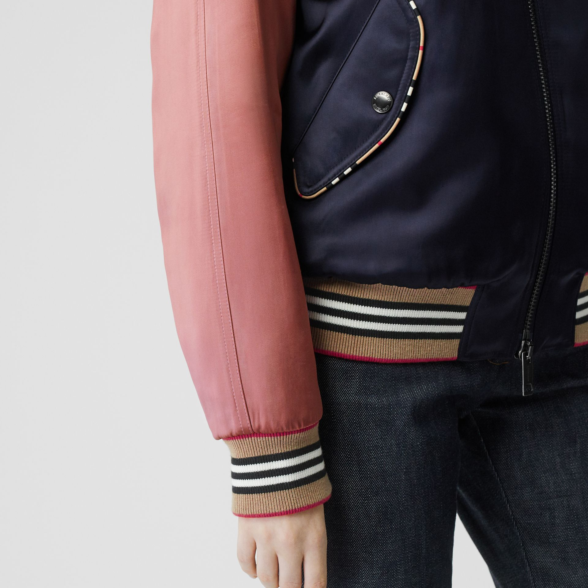 Icon Stripe Detail Monogram Motif Bomber Jacket in Navy/pink - Women | Burberry Australia - gallery image 4