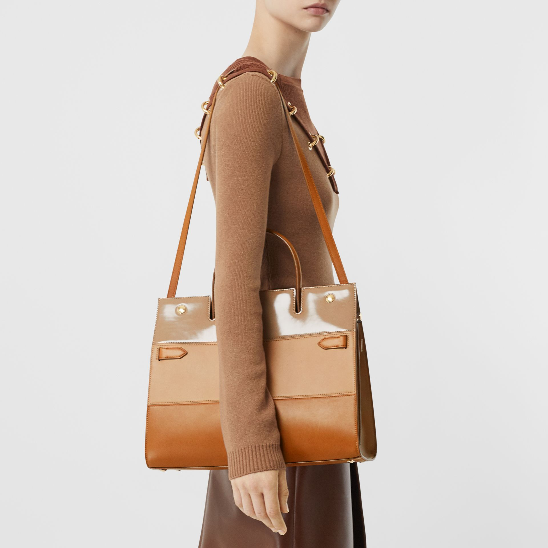 Medium Panelled Leather Title Bag in Soft Fawn - Women | Burberry - gallery image 2