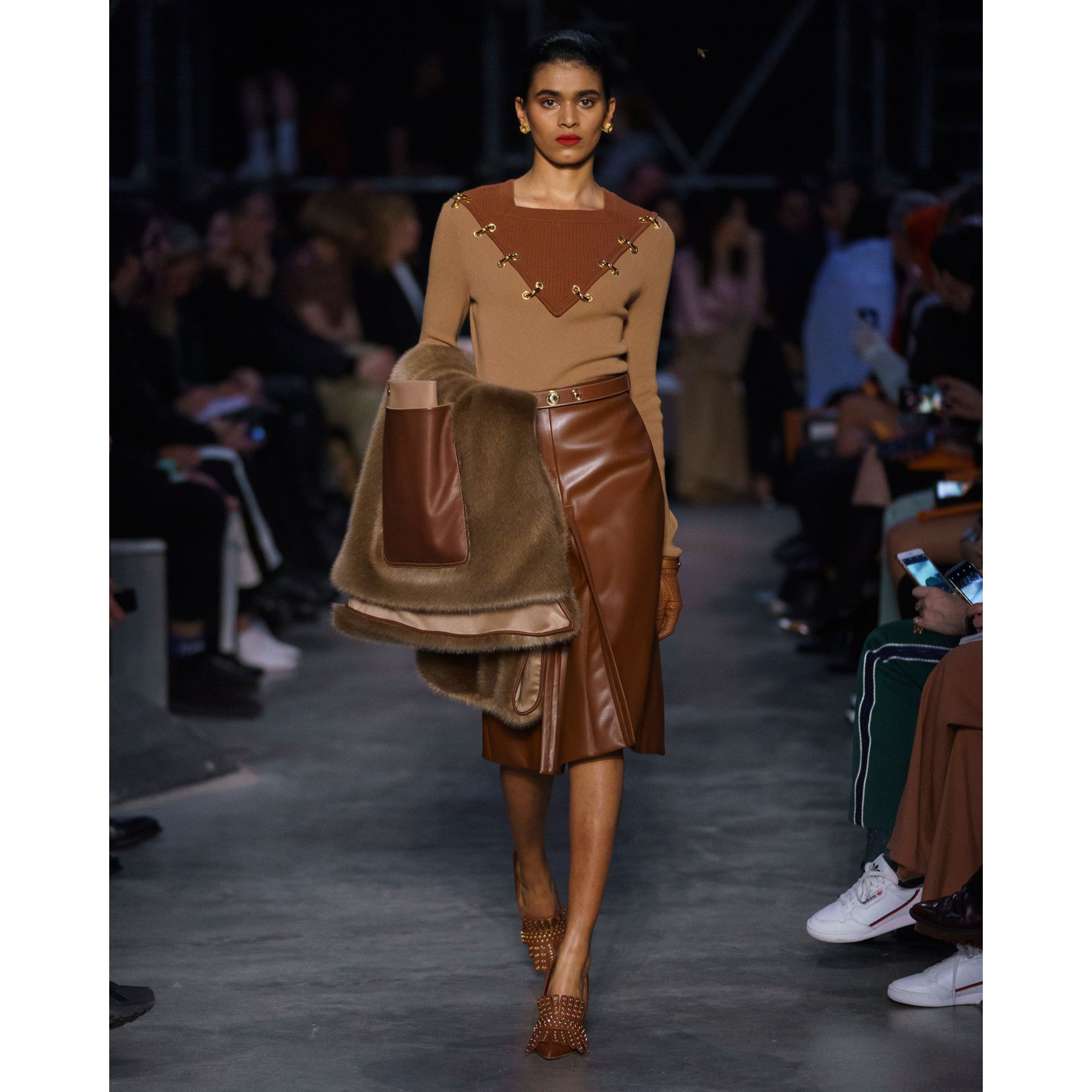 Box Pleat Detail Faux Leather Skirt in Dark Cheshnut Brown - Women | Burberry - gallery image 6