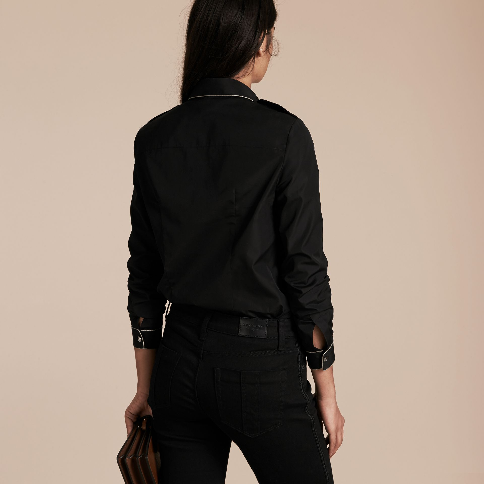 Black Piped Jacquard Cotton Shirt Black - gallery image 3