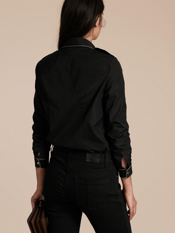 Black Piped Jacquard Cotton Shirt Black - cell image 2