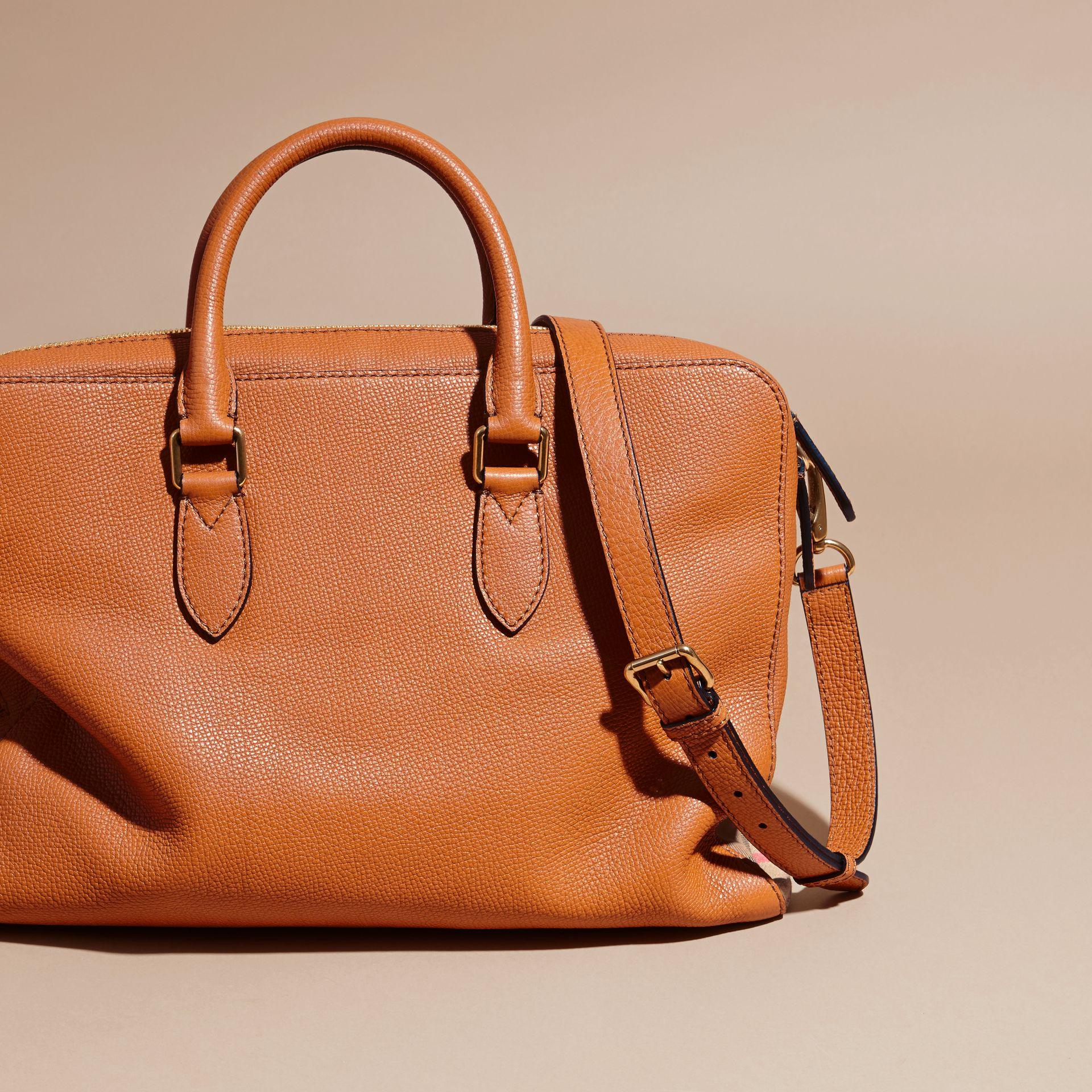 Leather and House Check Briefcase Russet - gallery image 5