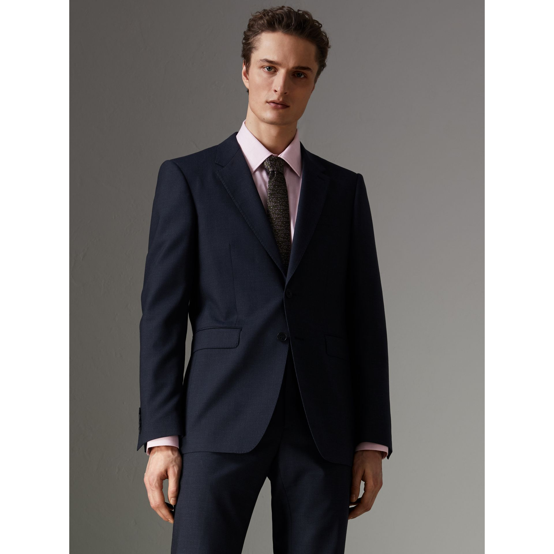 Modern Fit Wool Half-canvas Suit in Navy - Men | Burberry - gallery image 6