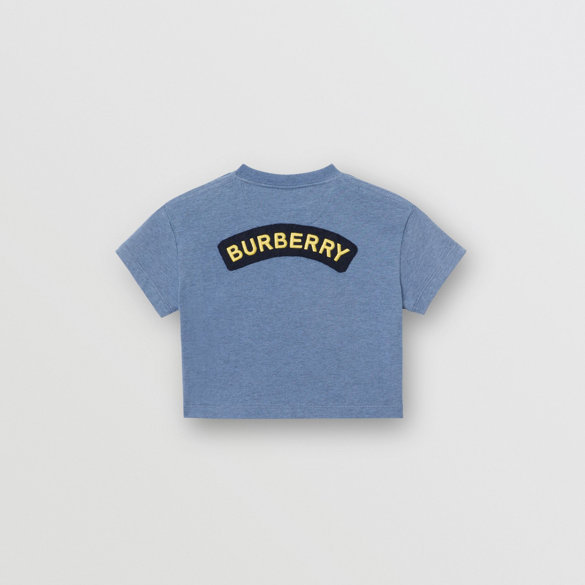 Logo Montage Cotton T-shirt in Dusty Blue - Children | Burberry United States - gallery image 3