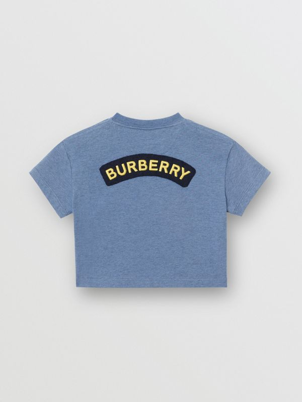 Logo Montage Cotton T-shirt in Dusty Blue - Children | Burberry United States - cell image 3