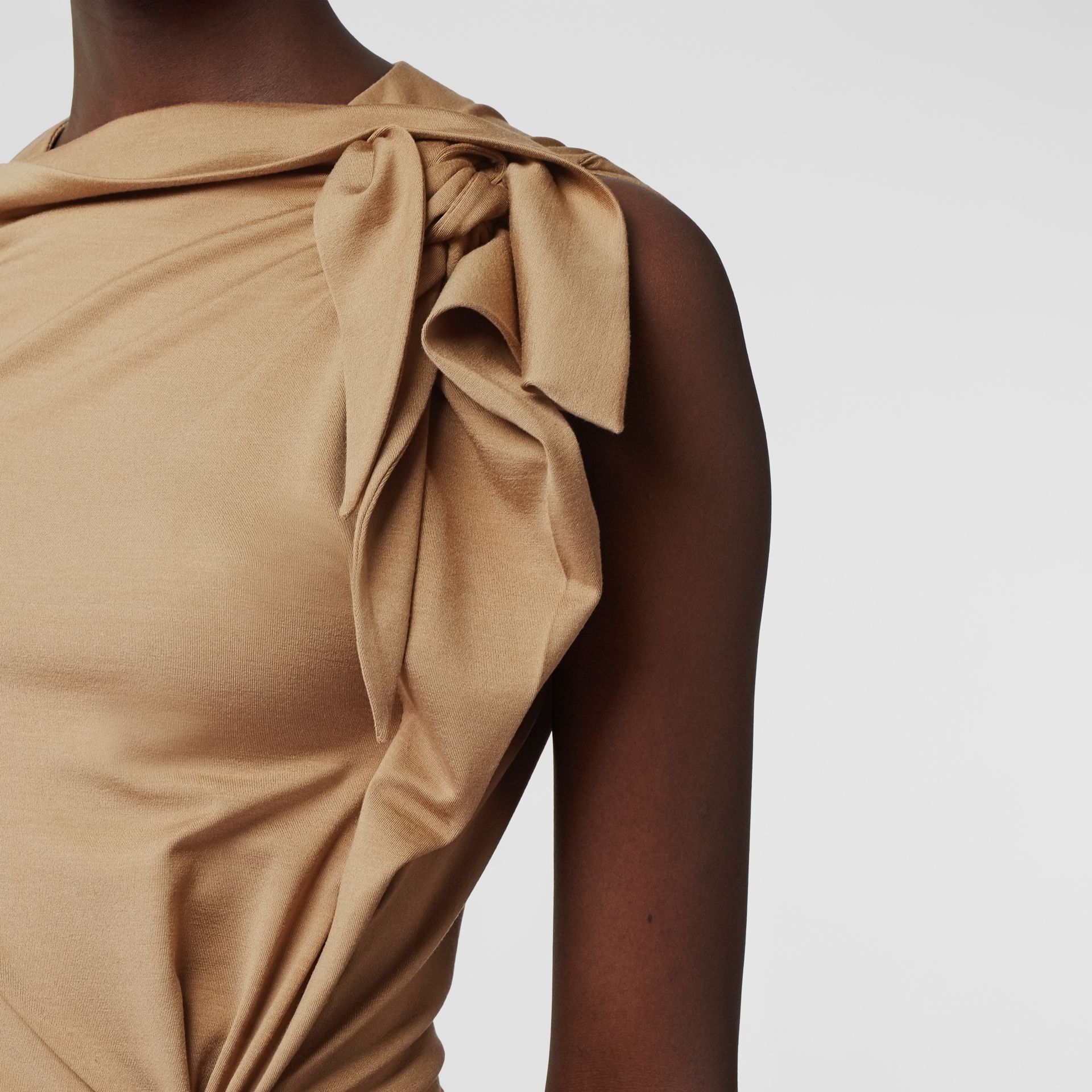 Tie Detail Tri-tone Silk Jersey Dress in Wheat - Women | Burberry - gallery image 4