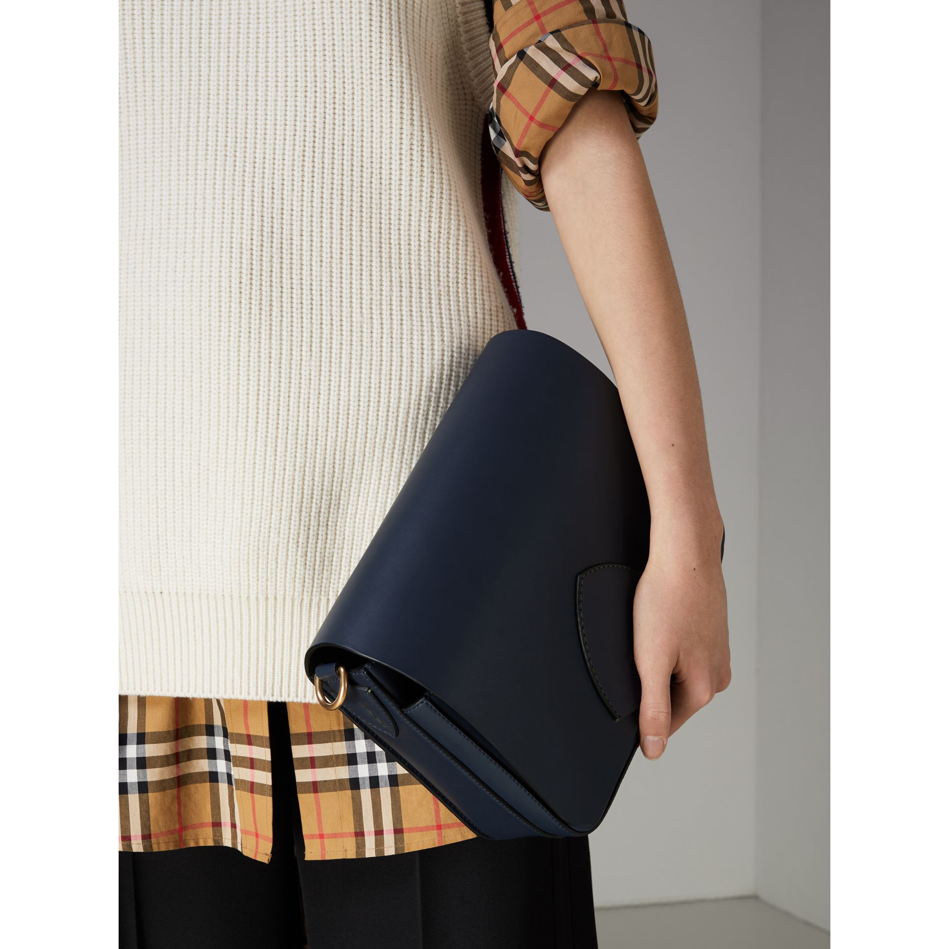 The Large Square Satchel in Leather in Mid Indigo - Women | Burberry United States - gallery image 3