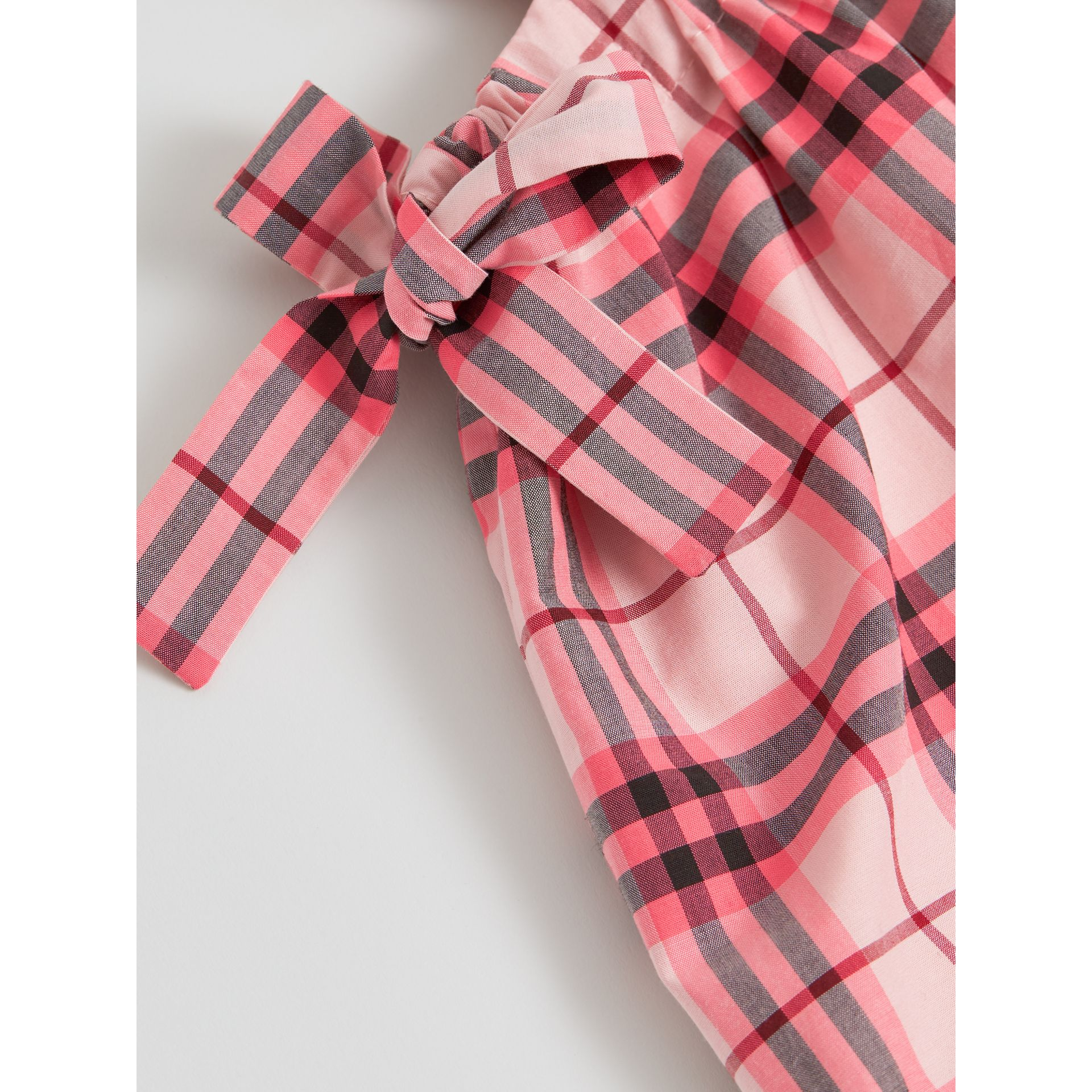 Tie Detail Check Cotton Dress in Bright Rose - Girl | Burberry United States - gallery image 1
