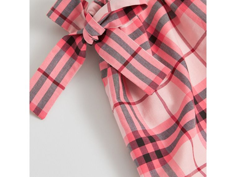 Tie Detail Check Cotton Dress in Bright Rose - Girl | Burberry - cell image 1