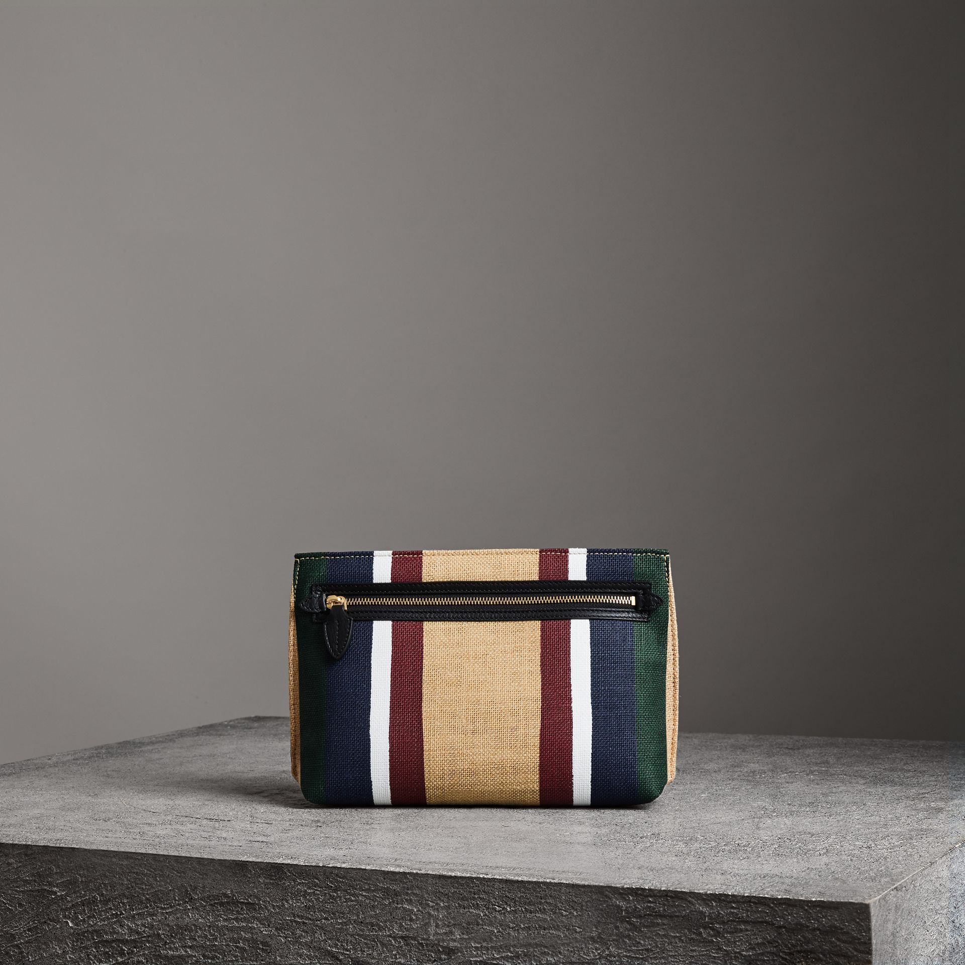 Striped Jute Wristlet Clutch in Black - Women | Burberry - gallery image 0
