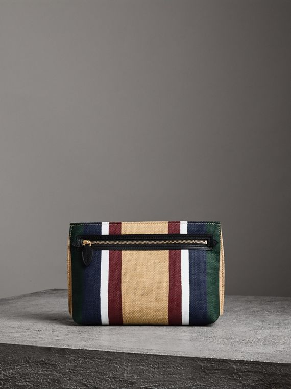 Striped Jute Wristlet Clutch in Black