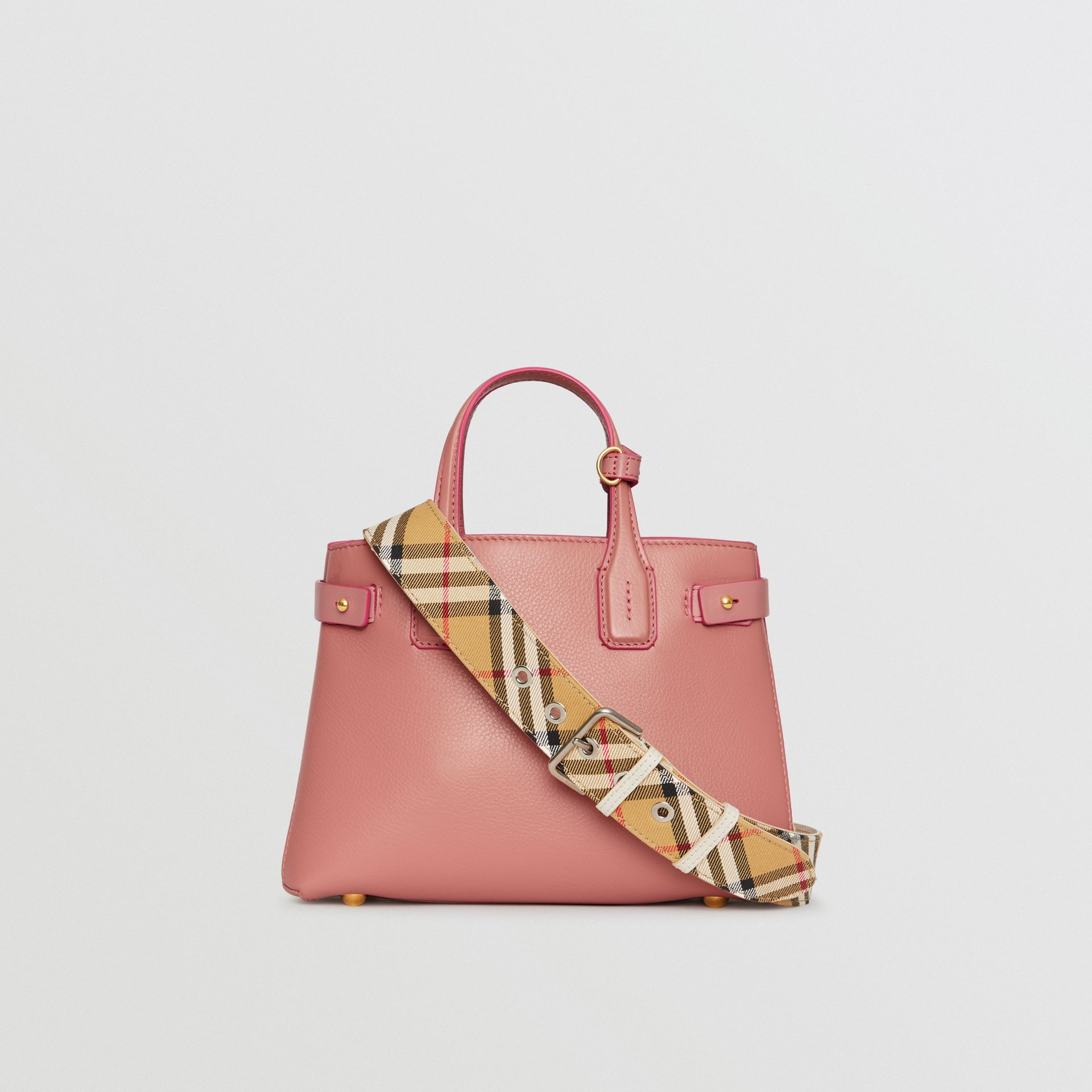 The Small Banner in Leather and Vintage Check in Dusty Rose - Women | Burberry - gallery image 7