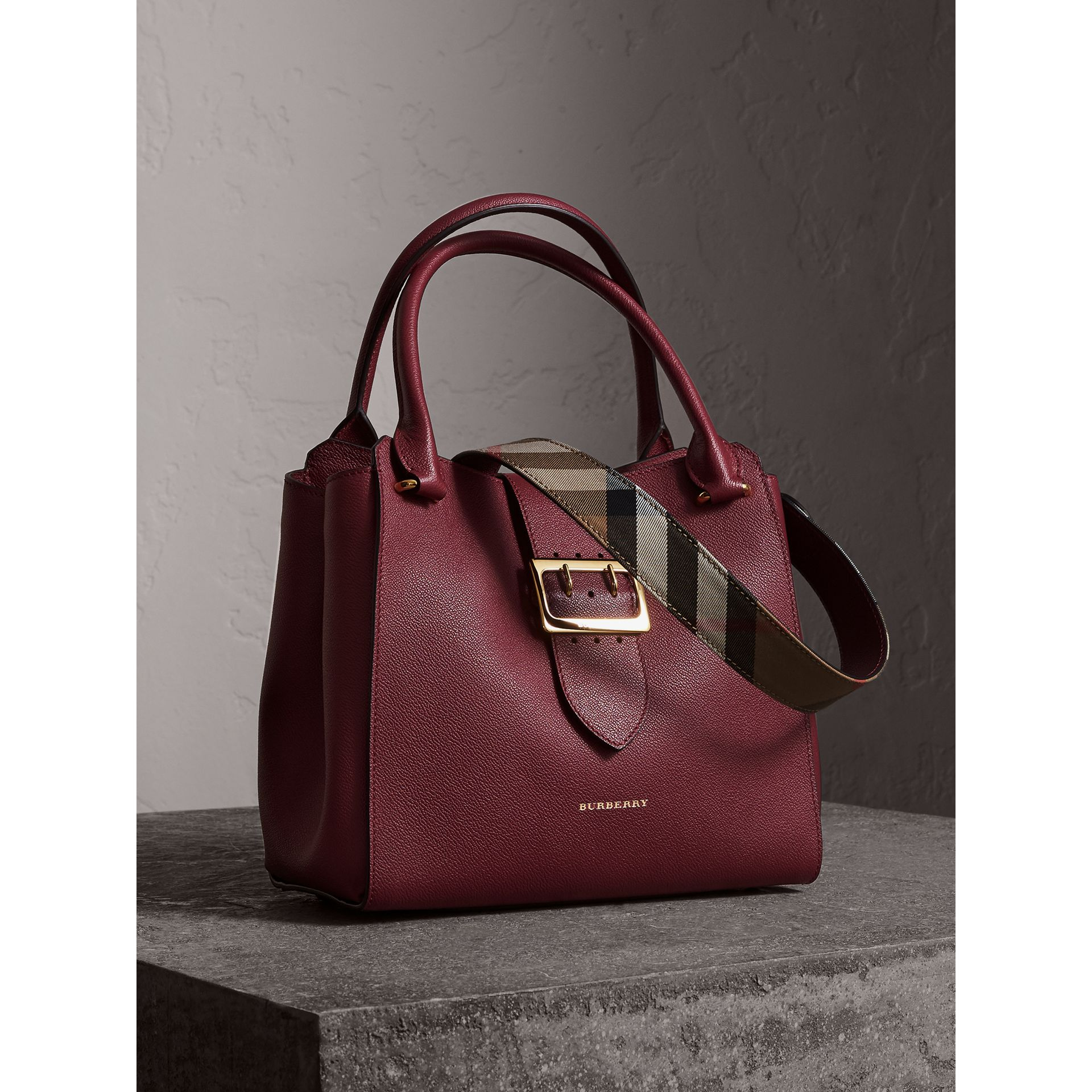 The Medium Buckle Tote in Grainy Leather in Dark Plum - Women | Burberry Australia - gallery image 7