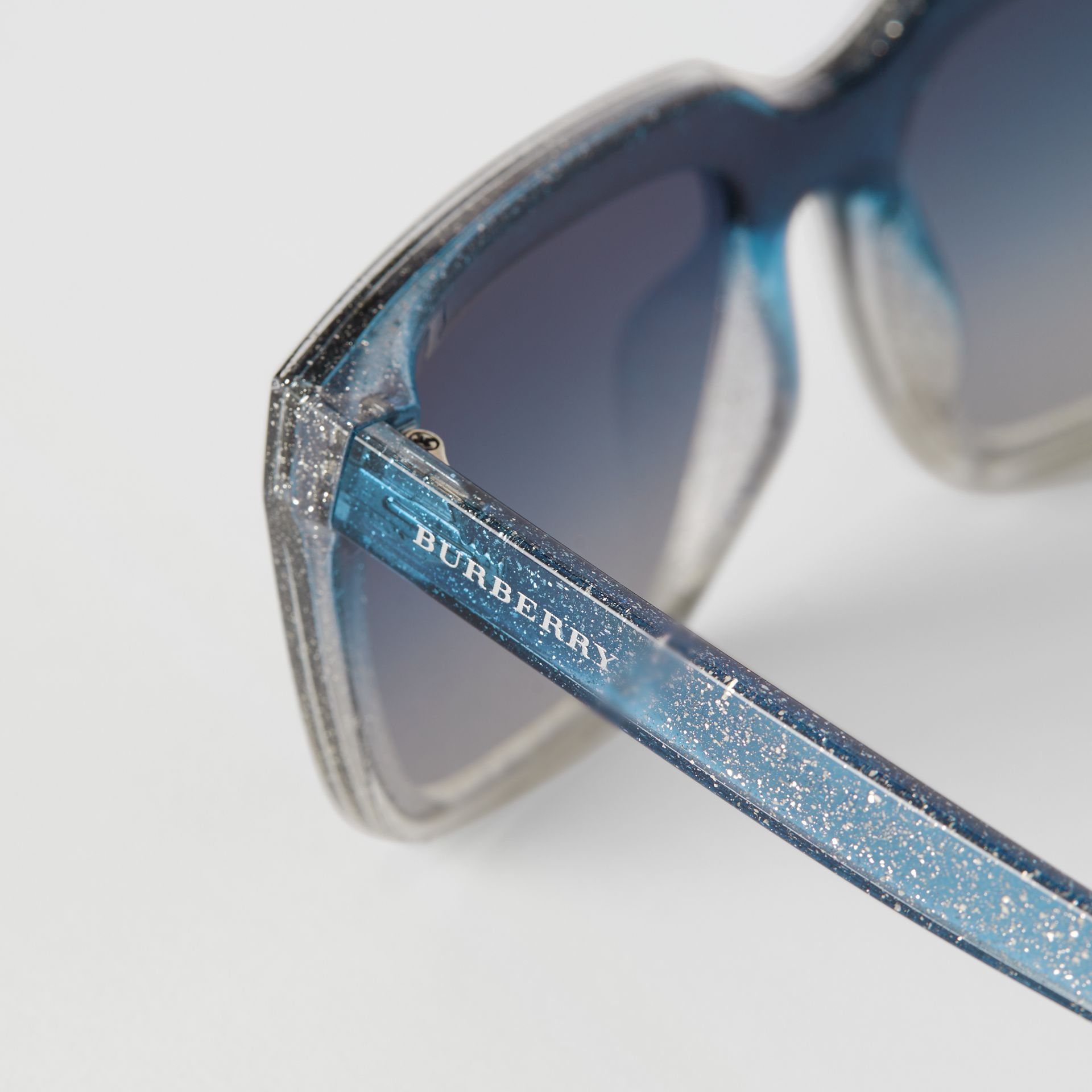 Glitter Detail Square Frame Shield Sunglasses in Blue - Women | Burberry - gallery image 1