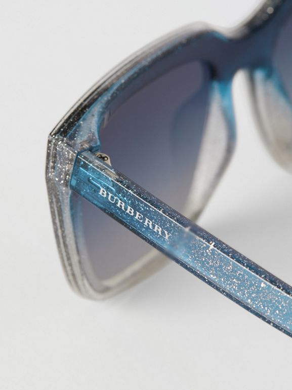 Glitter Detail Square Frame Shield Sunglasses in Blue - Women | Burberry - cell image 1