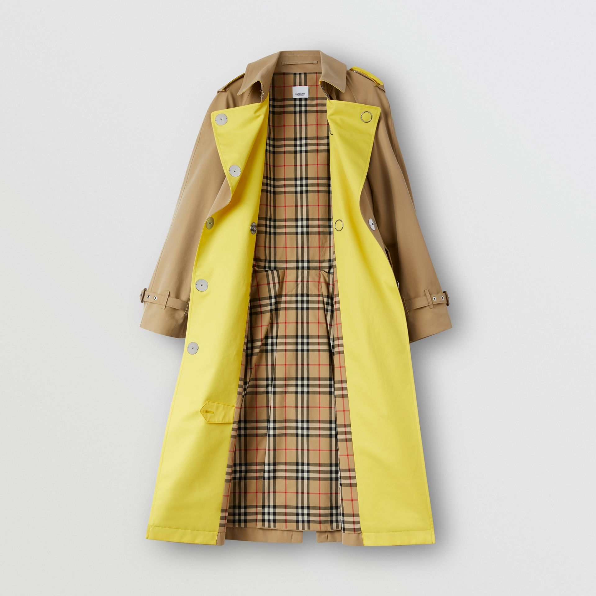 Colour Block Cotton Gabardine Trench Coat in Honey - Women | Burberry Canada - gallery image 7