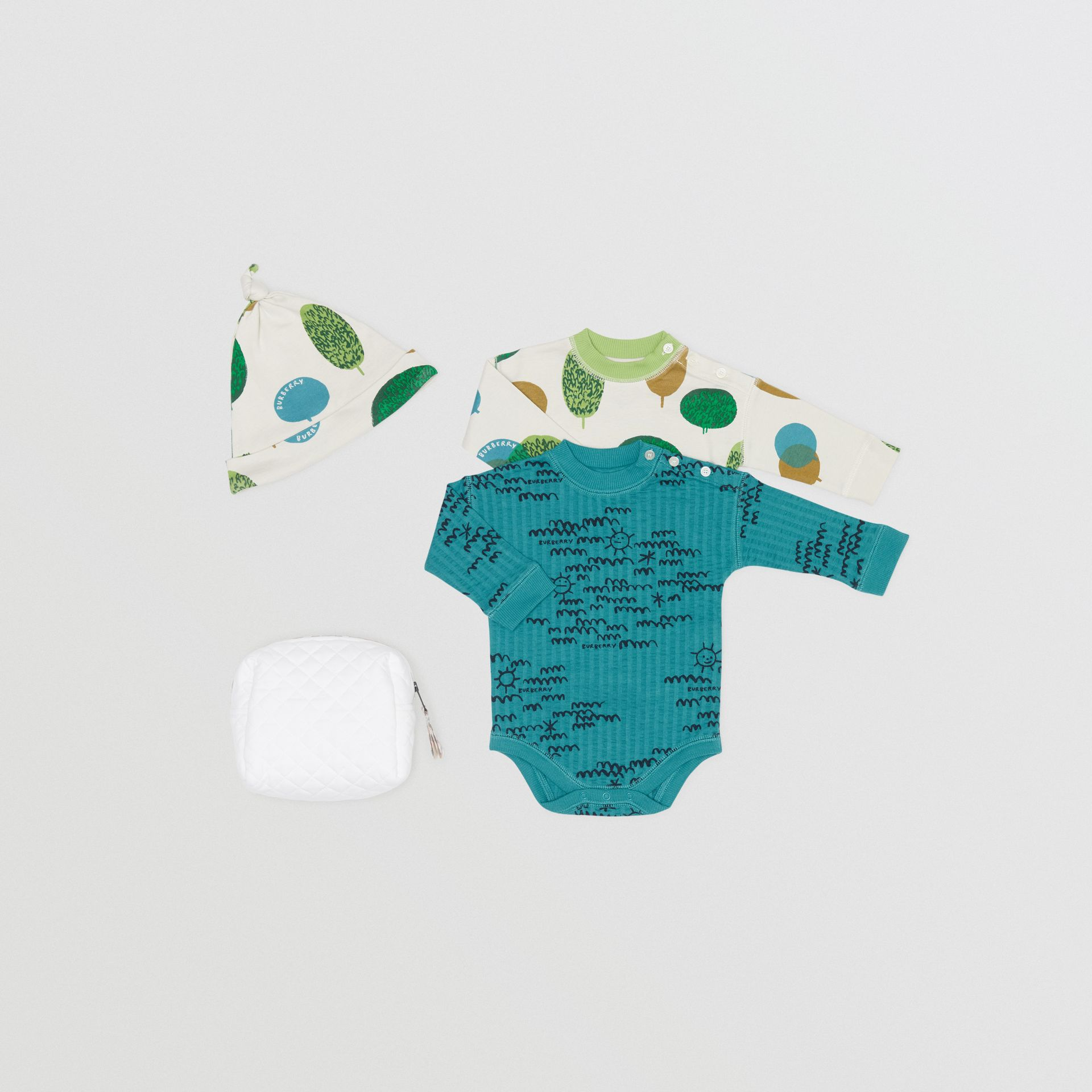 Tree and Sun Print Cotton Three-piece Baby Gift Set in Stone - Children | Burberry - gallery image 0