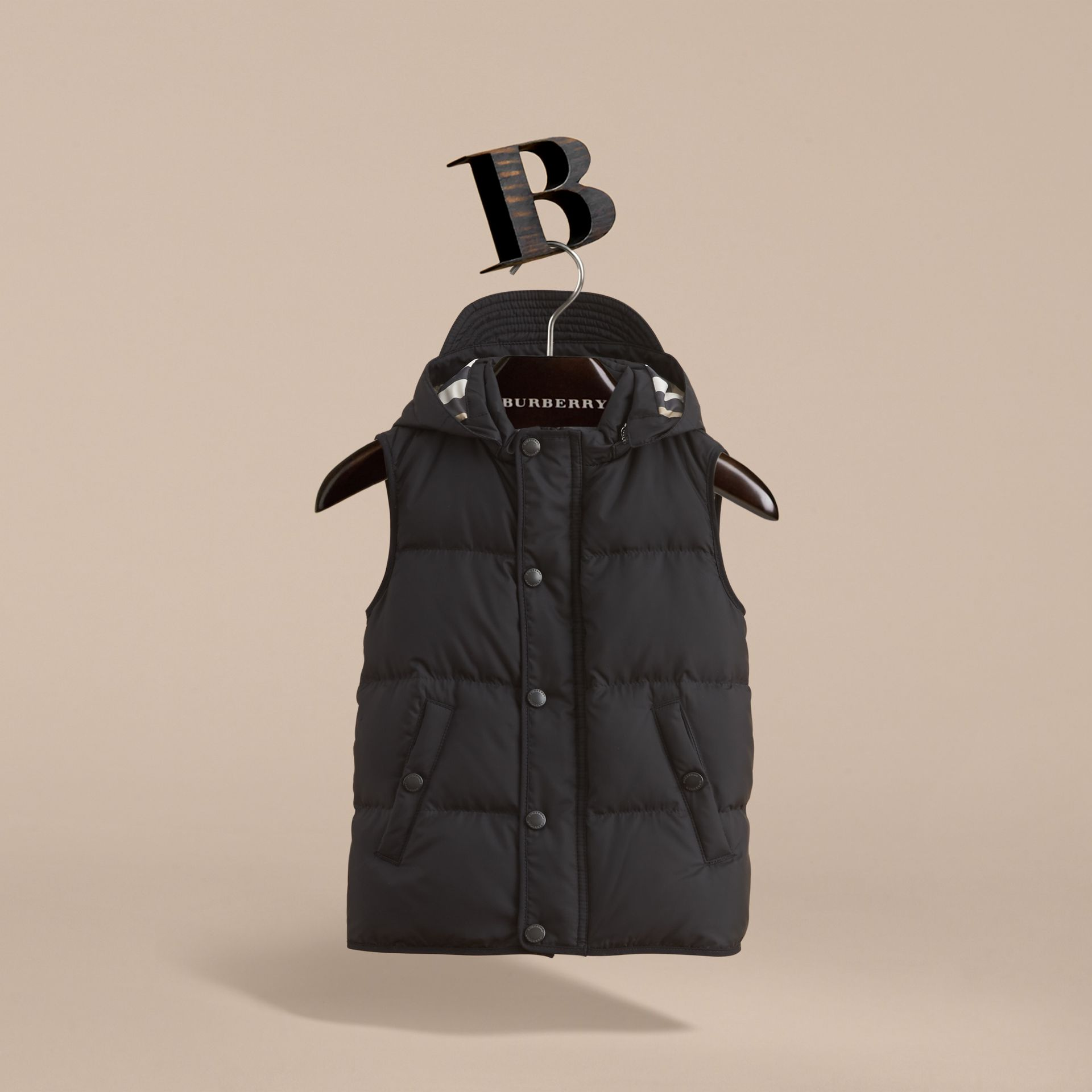 Down-filled Hooded Gilet in Black - Boy | Burberry - gallery image 3