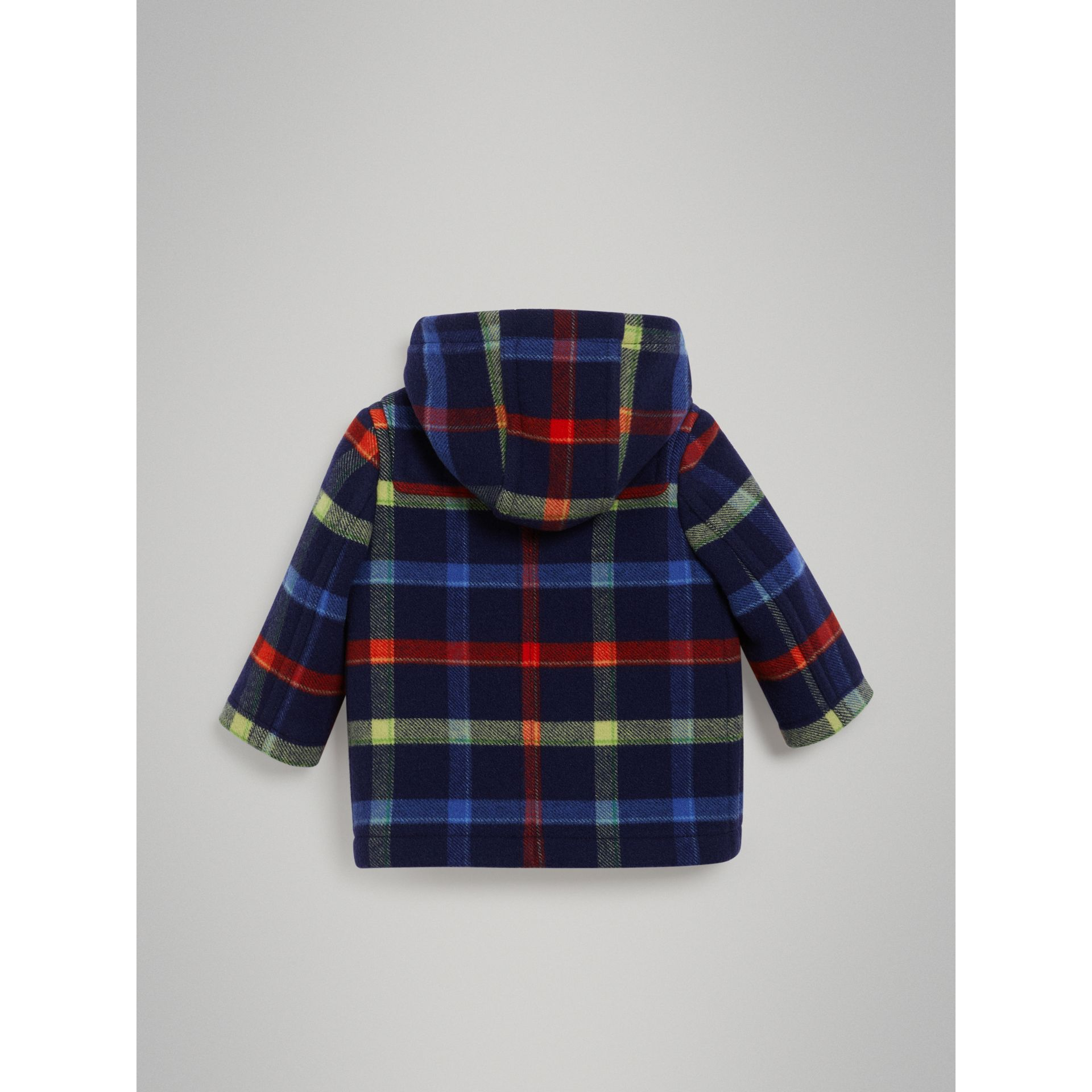 Check Double-faced Wool Duffle Coat in Navy - Children | Burberry - gallery image 3