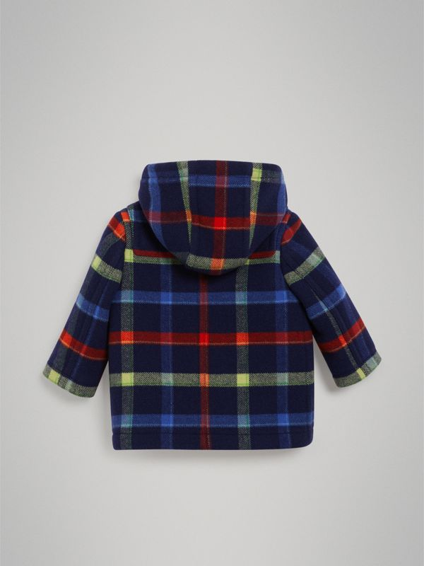 Check Double-faced Wool Duffle Coat in Navy - Children | Burberry United Kingdom - cell image 3