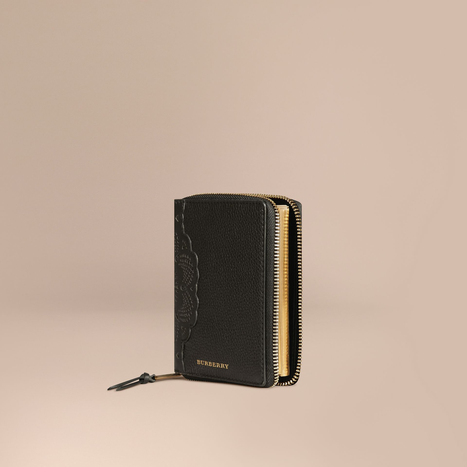 Black Ziparound Laser-cut Lace Detail Leather Mini Notebook - gallery image 1