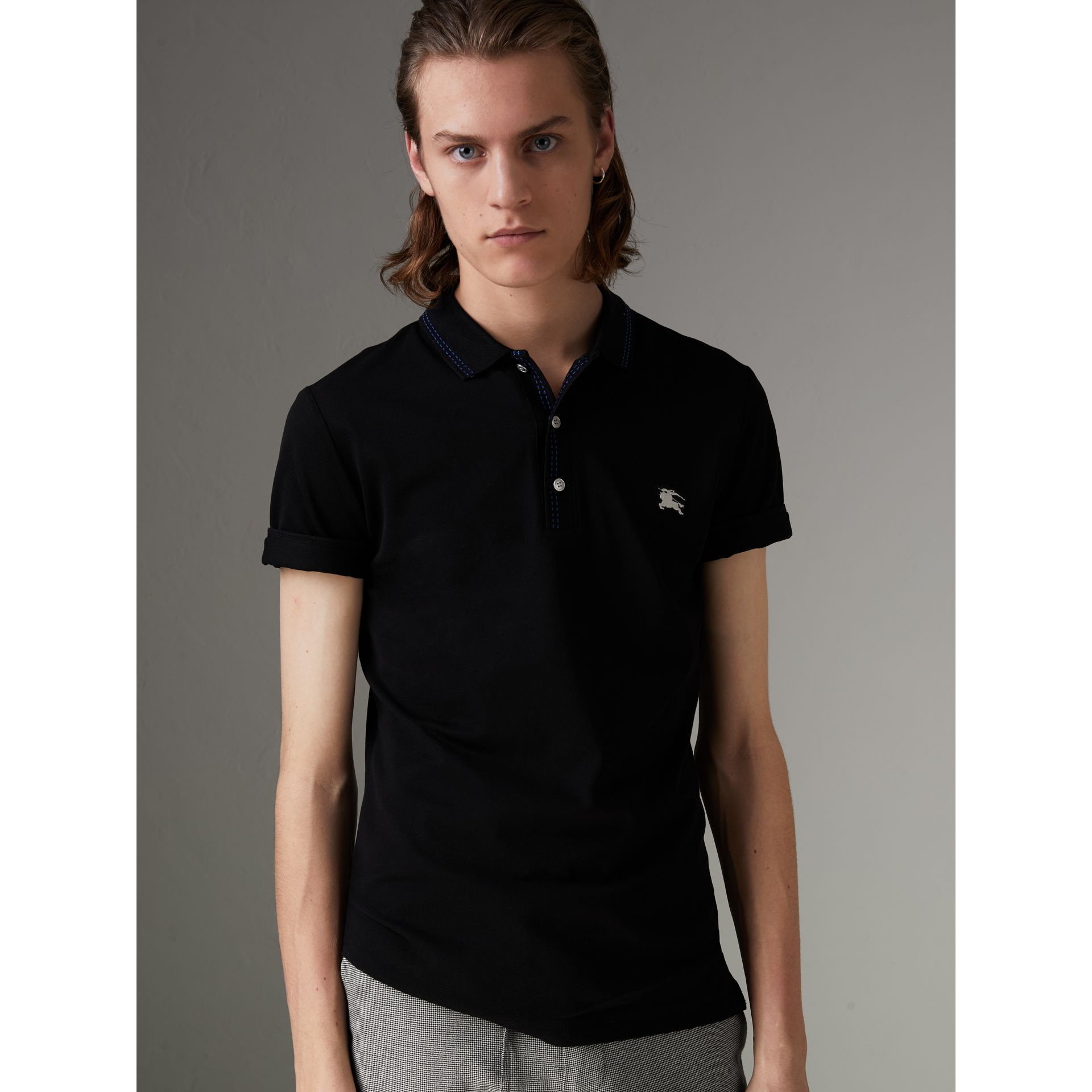Cotton Piqué Polo Shirt in Black - Men | Burberry - gallery image 4
