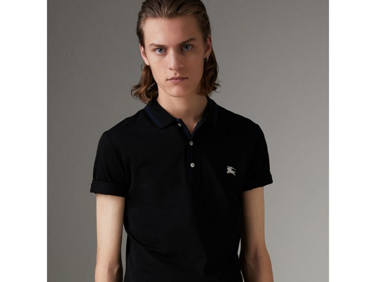 Cotton Piqué Polo Shirt in Black - Men | Burberry - cell image 4