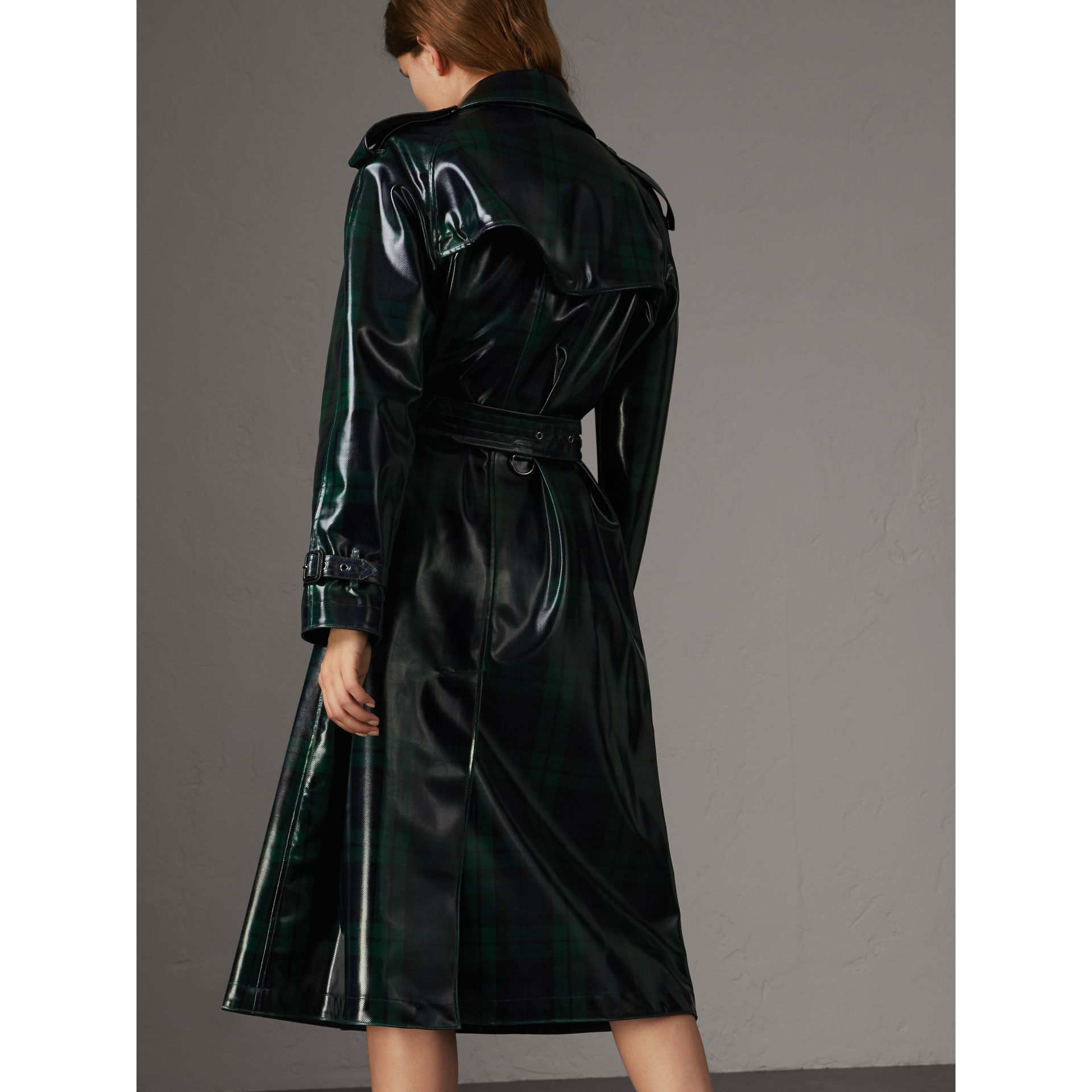 Laminated Tartan Wool Trench Coat in Navy - Women | Burberry - gallery image 2