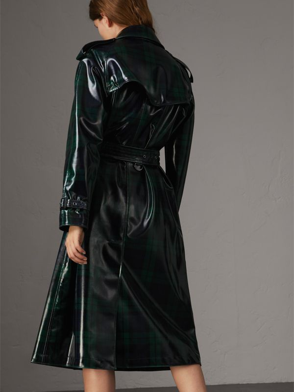 Laminated Tartan Wool Trench Coat in Navy - Women | Burberry - cell image 2