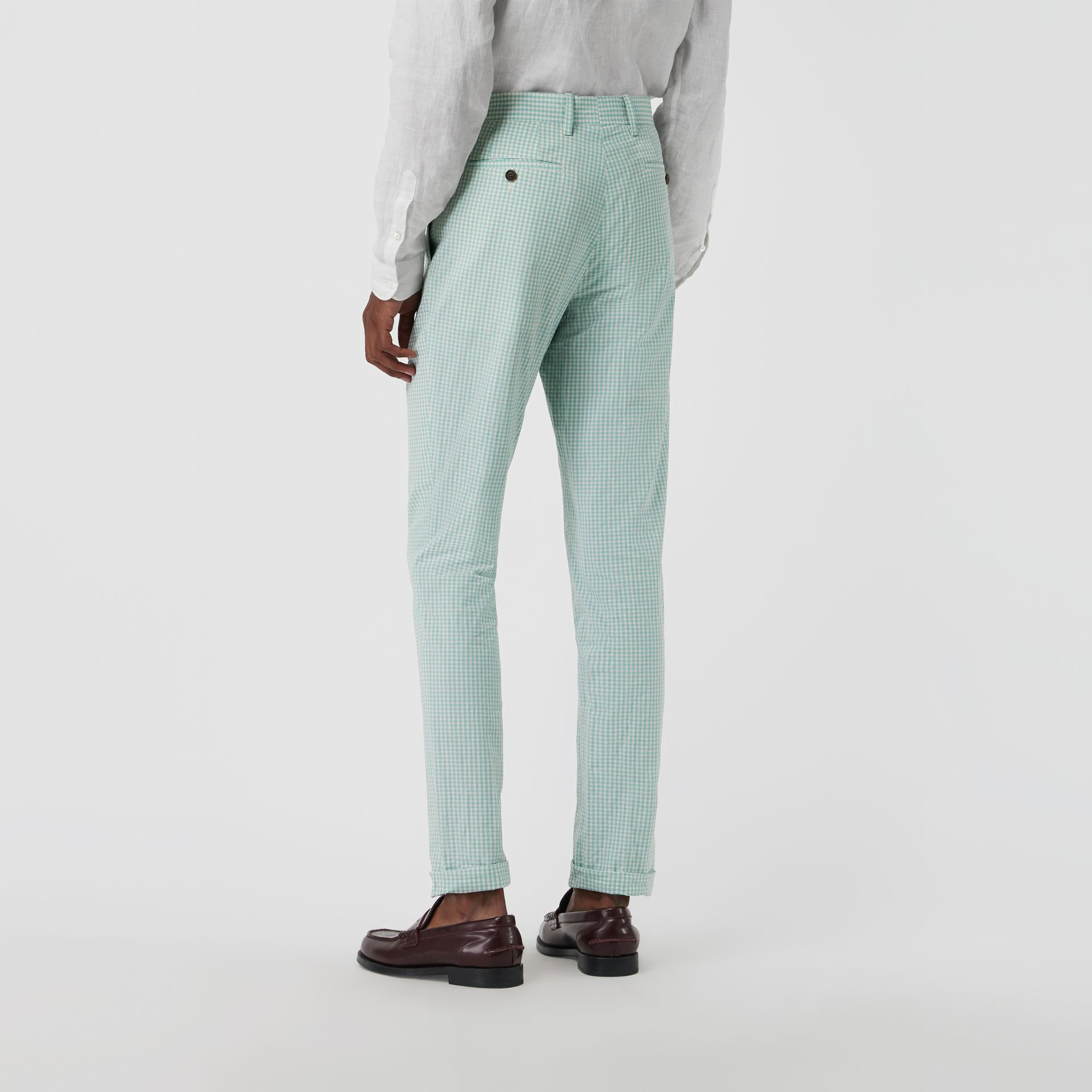 Gingham Cotton Tailored Trousers in Pale Opal - Men | Burberry Canada - gallery image 2