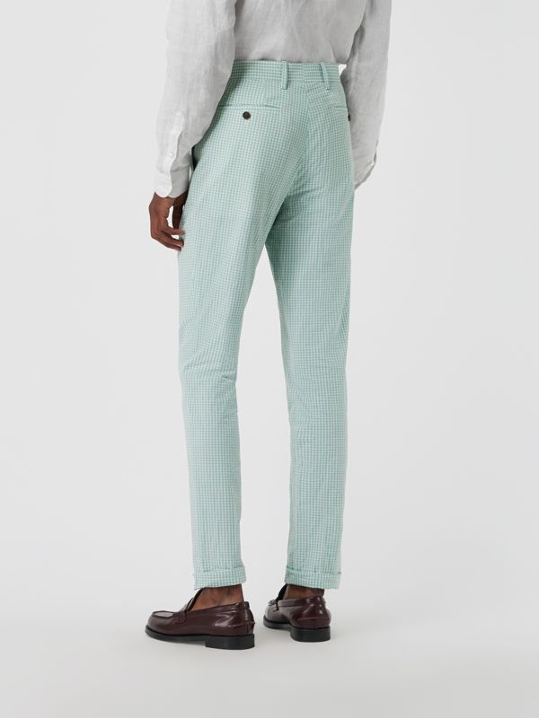 Gingham Cotton Tailored Trousers in Pale Opal - Men | Burberry Canada - cell image 2