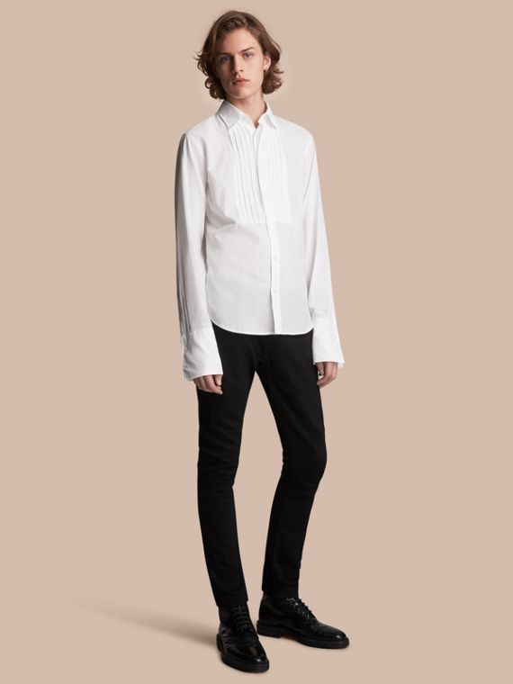 Unisex Double-cuff Pintuck Bib Cotton Shirt in White - Women | Burberry - cell image 2