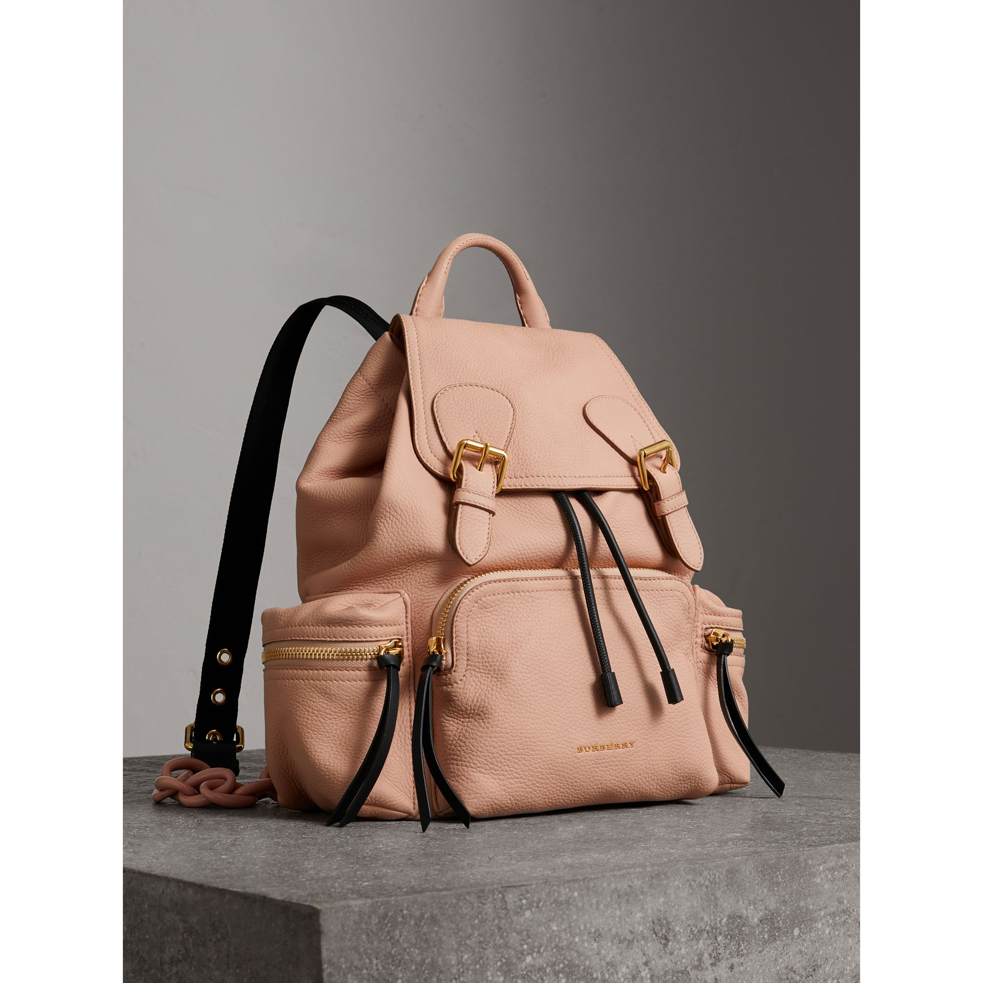 The Medium Rucksack in Deerskin with Resin Chain in Pale Apricot - Women | Burberry - gallery image 1