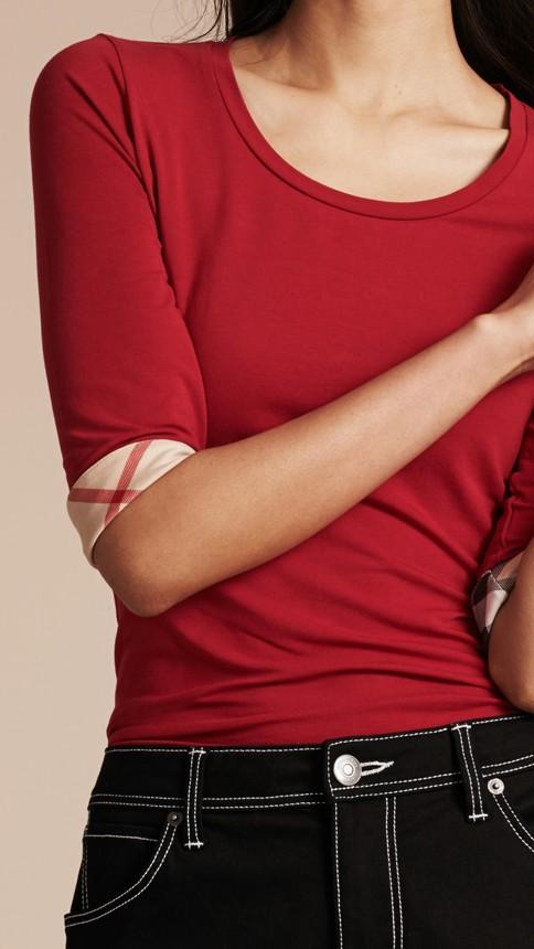 Rouge laque Haut en coton extensible avec revers à motif check Rouge Laque - Image 5