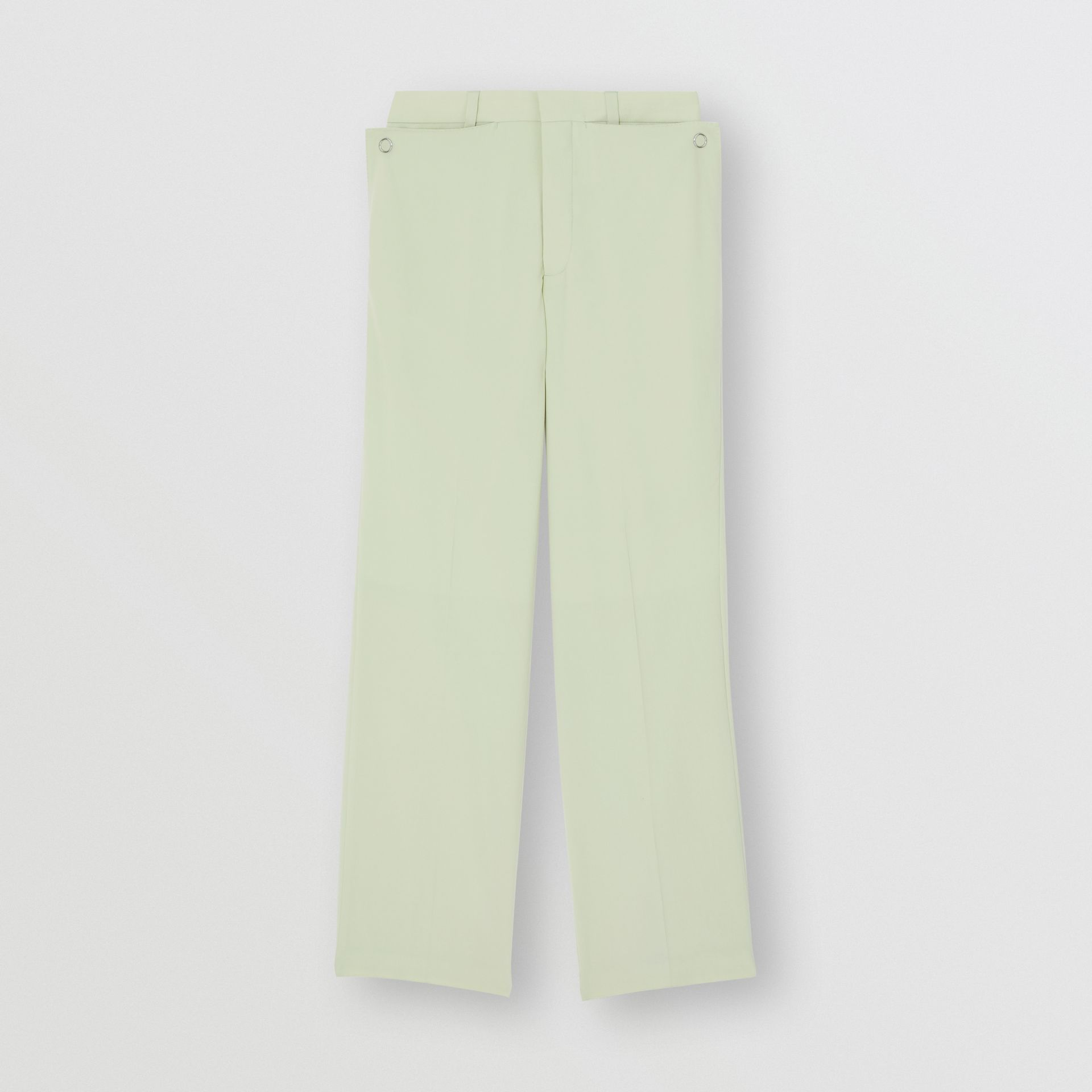 Tumbled Wool Wide-leg Trousers in Matcha | Burberry Australia - gallery image 3