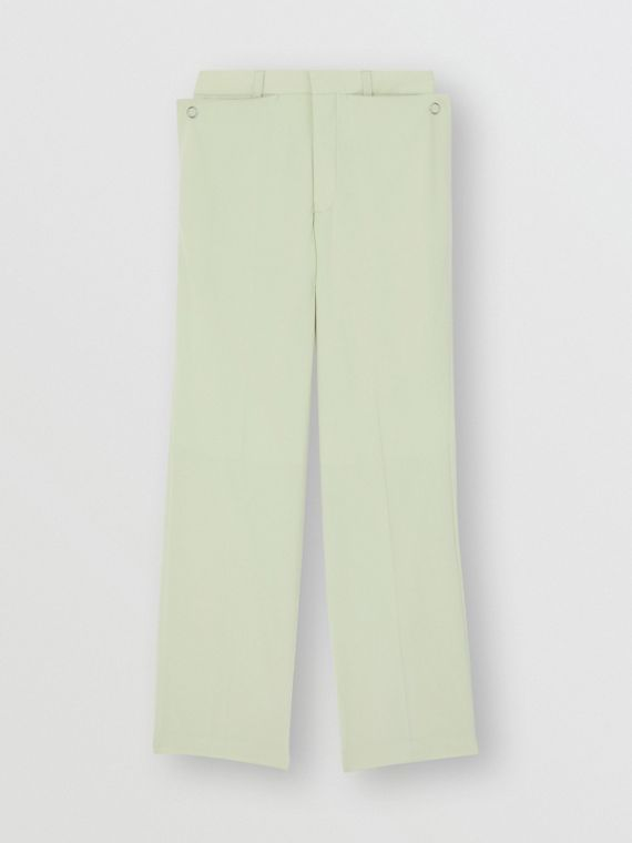 Tumbled Wool Wide-leg Trousers in Matcha