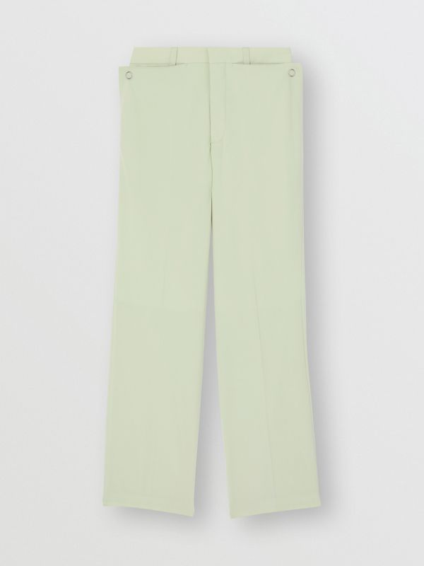 Tumbled Wool Wide-leg Trousers in Matcha | Burberry Australia - cell image 3