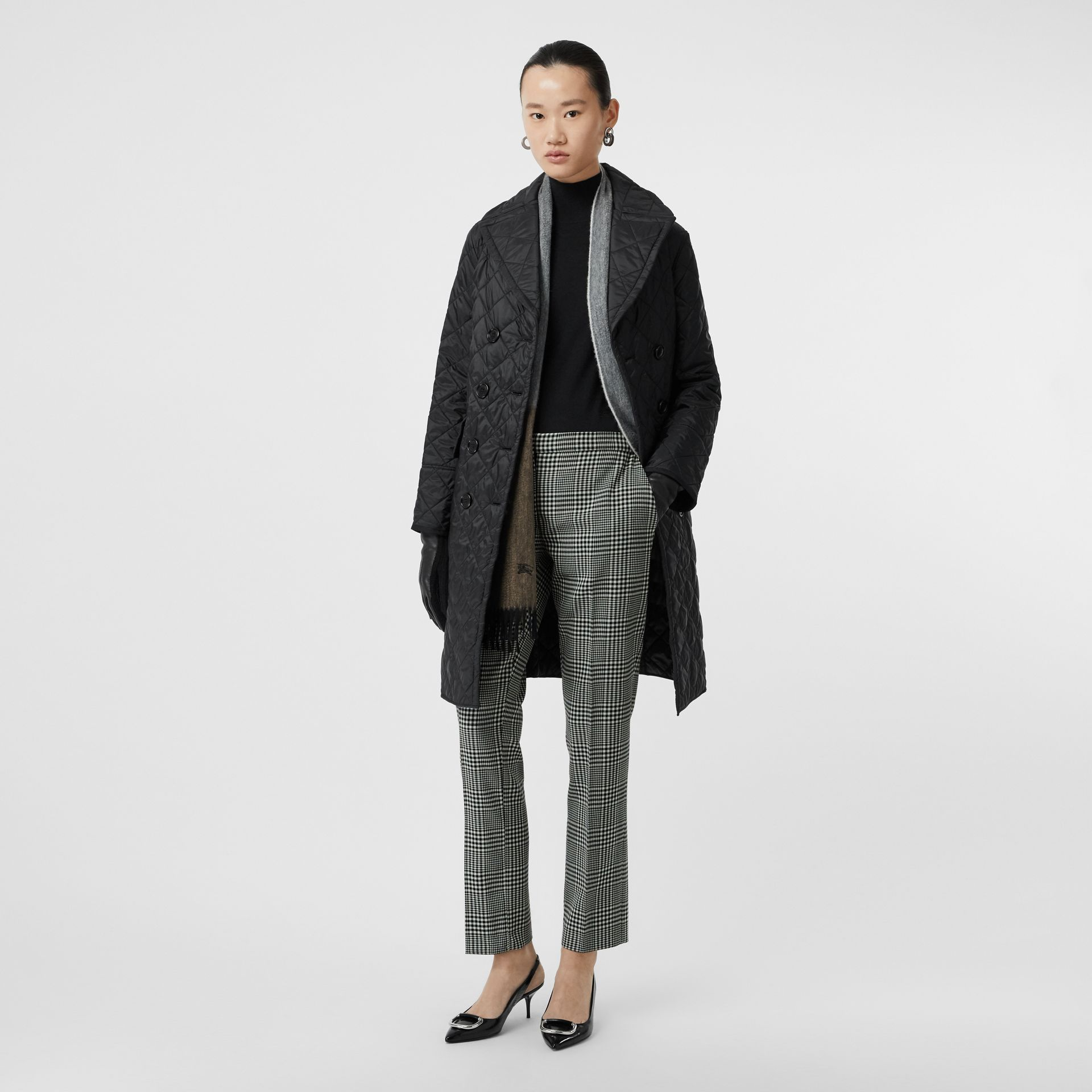 Straight Fit Prince of Wales Check Wool Trousers in Mist Green - Women | Burberry - gallery image 4