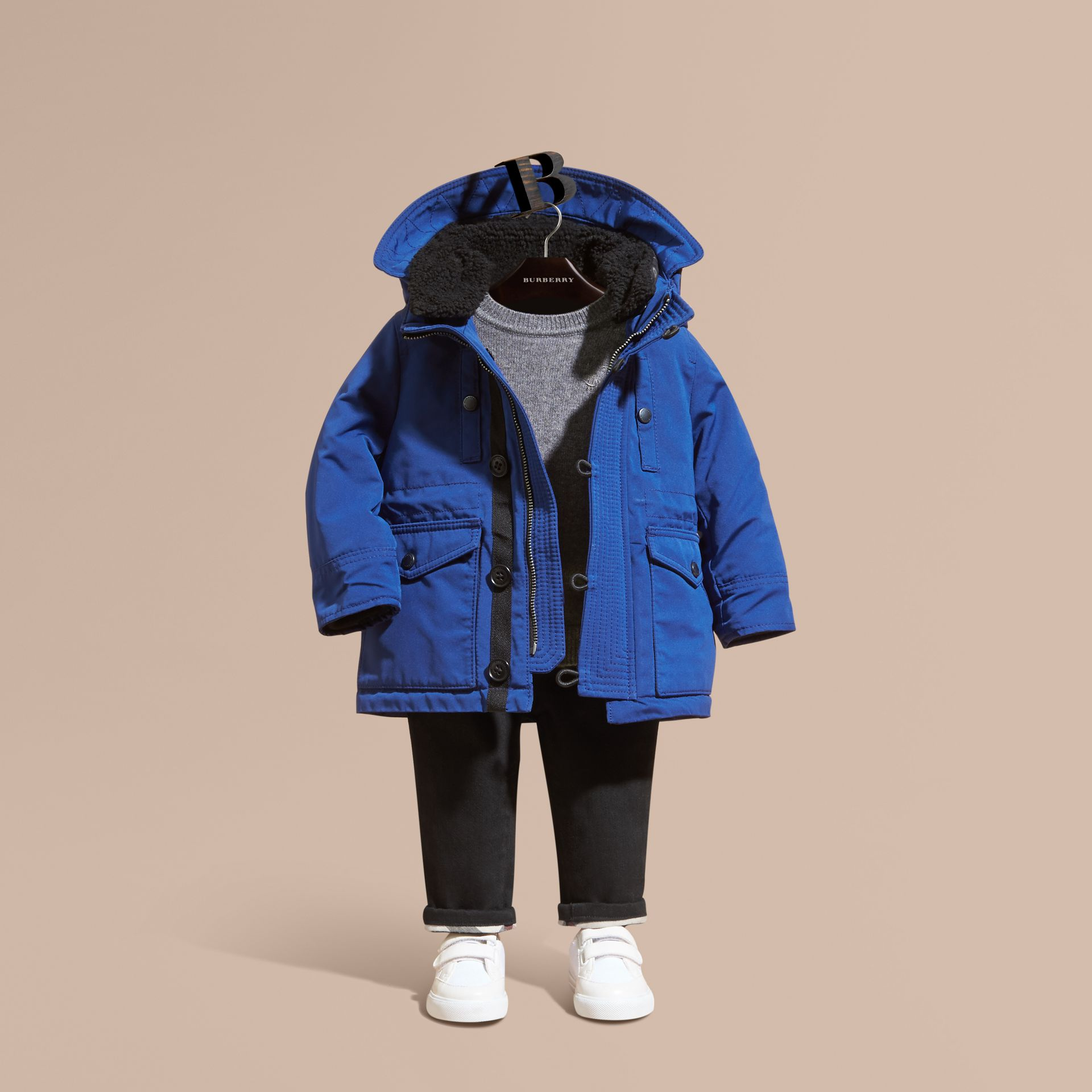 Bright cobalt Down-filled Jacket with Faux-fur-lined Hood Bright Cobalt - gallery image 1