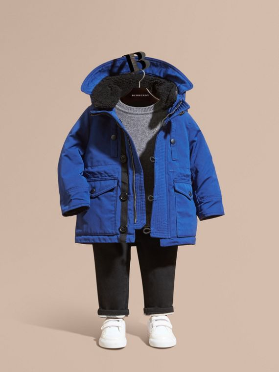 Down-filled Jacket with Faux-fur-lined Hood Bright Cobalt