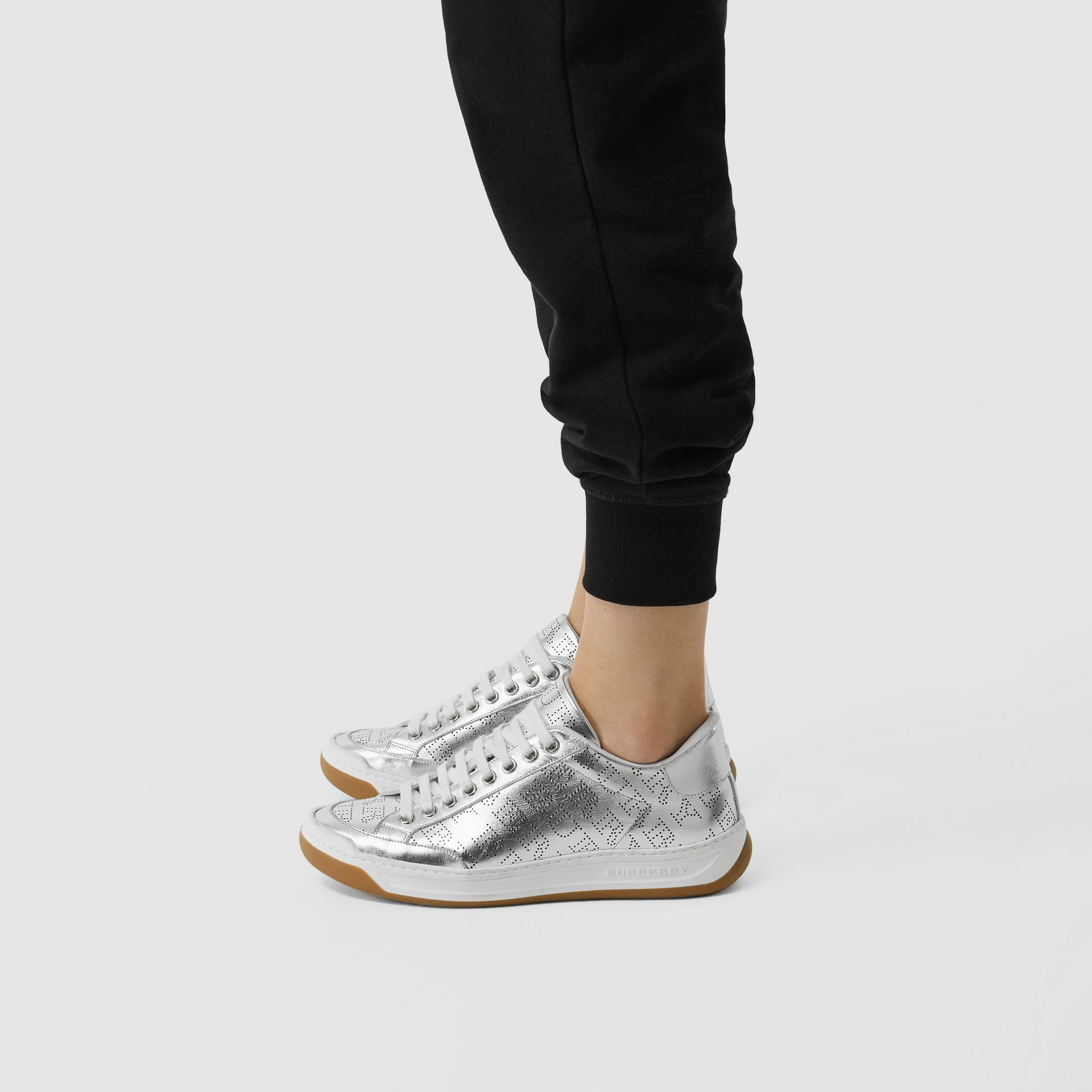 Perforated Logo Metallic Leather Sneakers in Silver Grey - Women | Burberry United States - gallery image 2