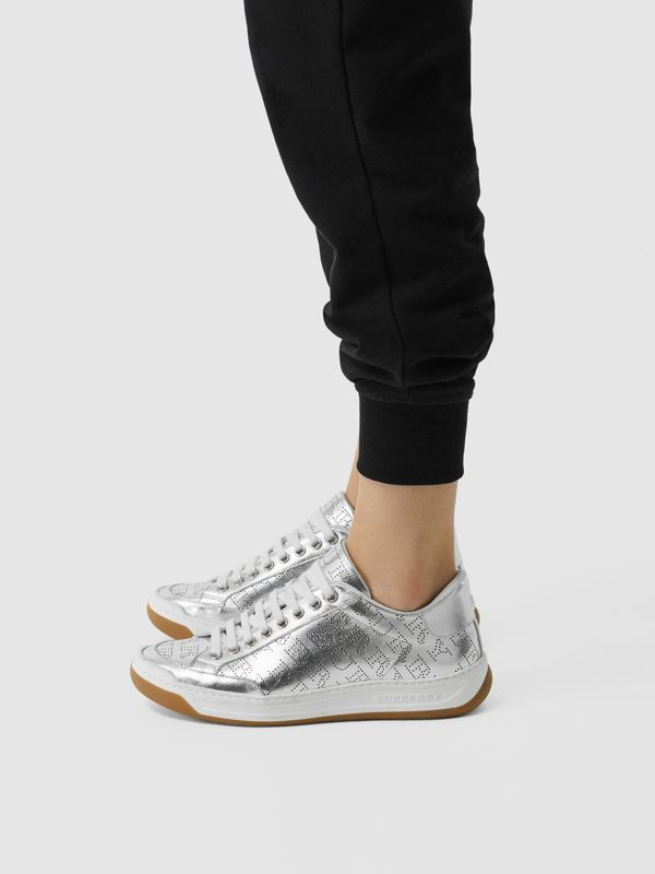 Perforated Logo Metallic Leather Sneakers in Silver Grey - Women | Burberry - cell image 2